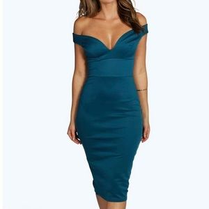 teal sweetheart off shoulder bodycon dress